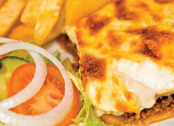 Moussaka & Chips with Salad Garnish